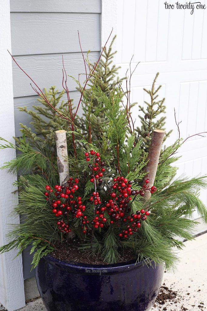large outdoor winter planter