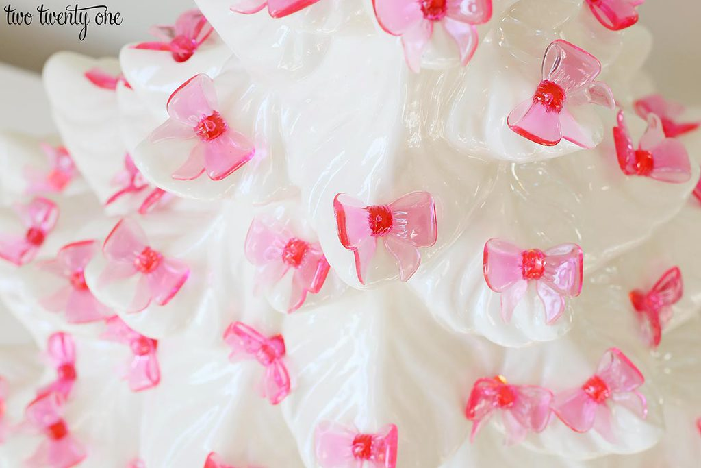 pink bow ceramic Christmas tree lights