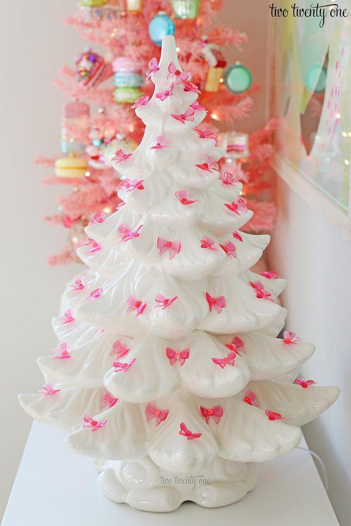 pink ceramic Christmas tree