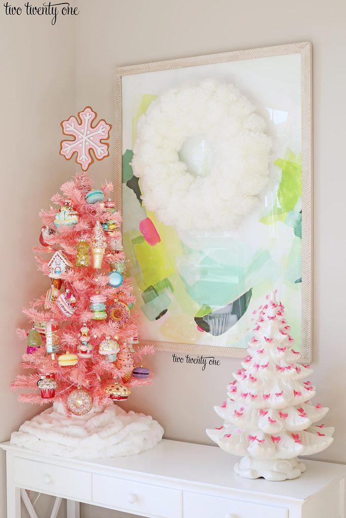 pink Christmas tree and white ceramic Christmas tree