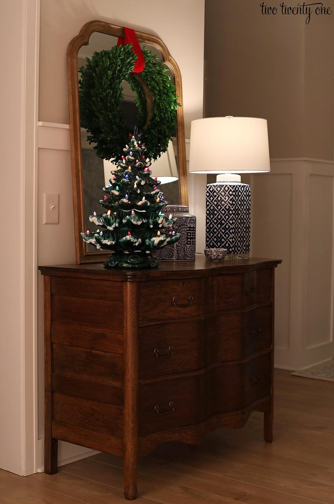 vintage dresser and ceramic christmas tree