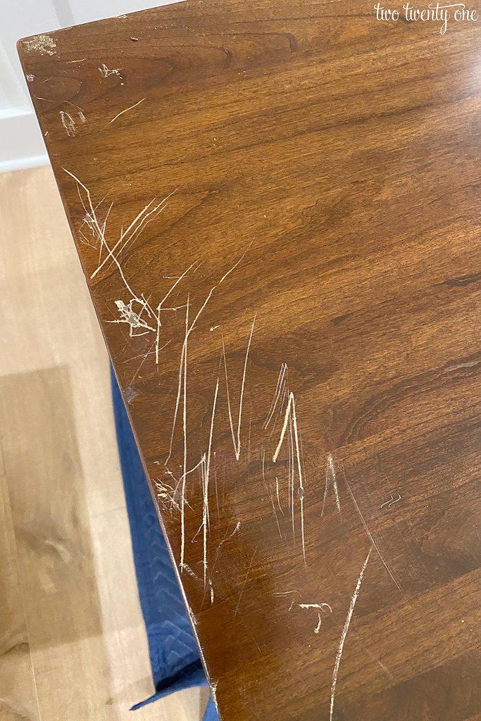 scratched wood furniture
