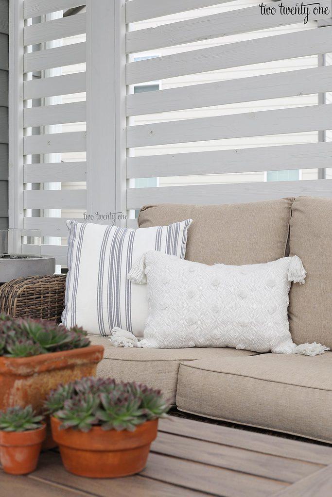 outdoor tassel pillow
