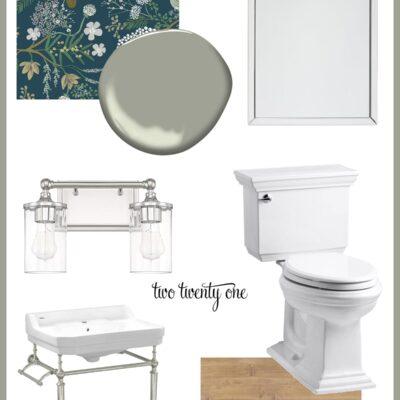 Powder Room Design Plan- Spring 2021 One Room Challenge – Week Two