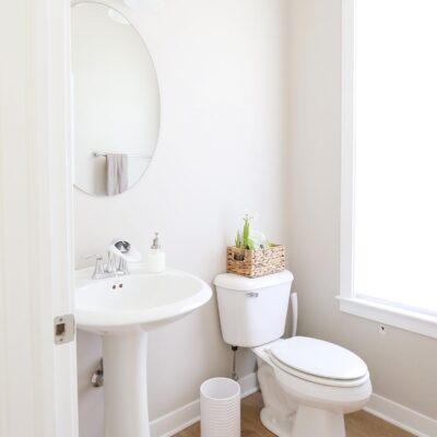 powder room with pedestal sink, mirror, light, toilet, and window