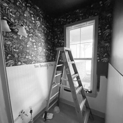 Powder Room Beadboard & Wallpaper Progress – Spring 2021 One Room Challenge – Week Six