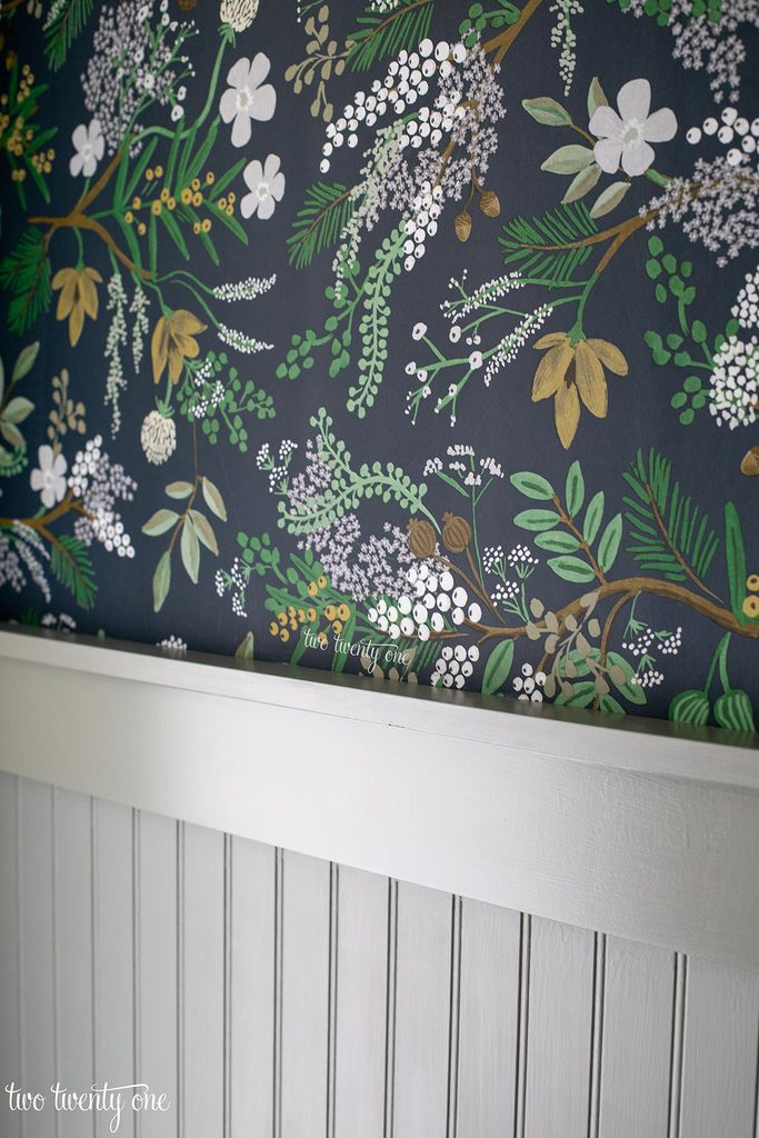 beadboard painted with Benjamin Moore Oil Cloth. Rifle Paper Co Juniper Forest wallpaper