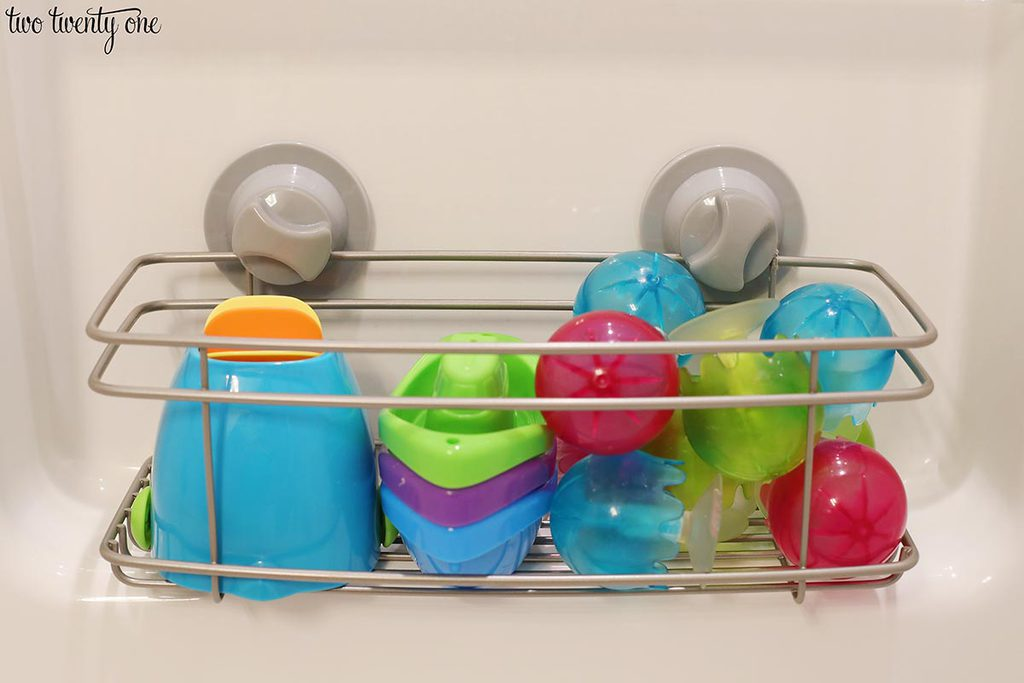shower basket with toys