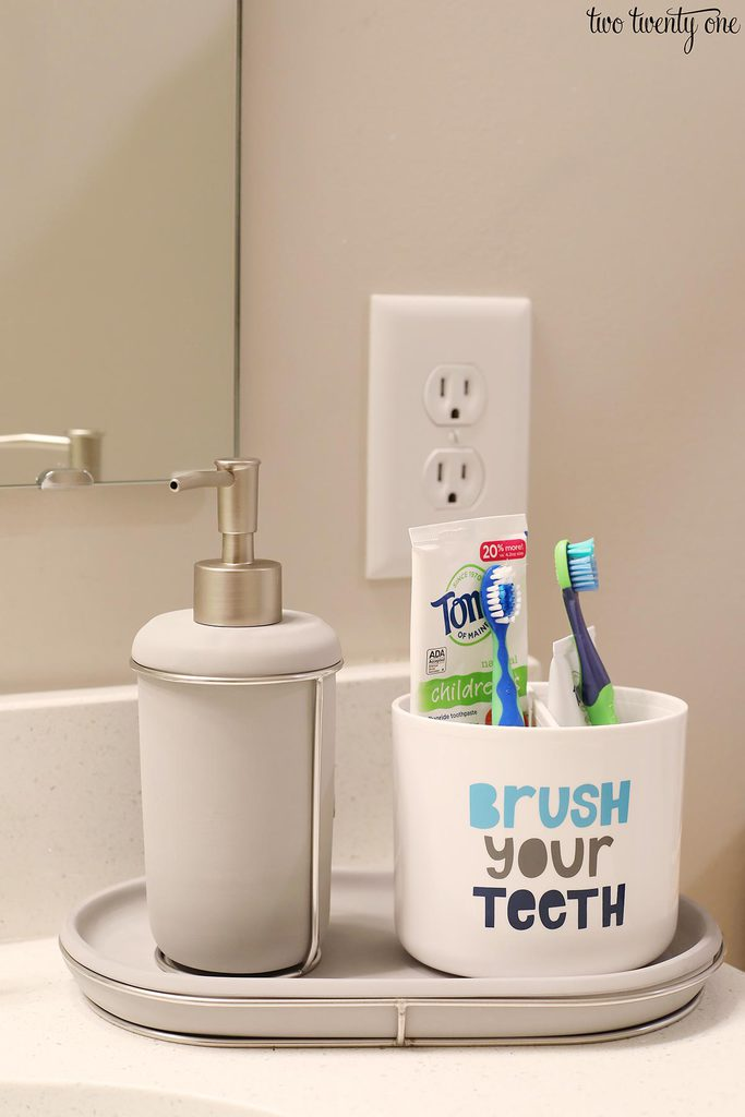 soap dispenser and tray