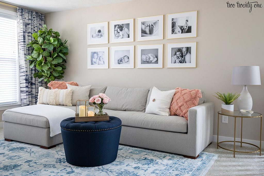 Gray couch with chaise attached