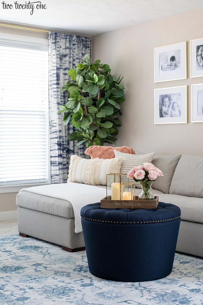 gray couch with chaise, navy ottoman, shibori curtains, with fiddle leaf fig tree in front