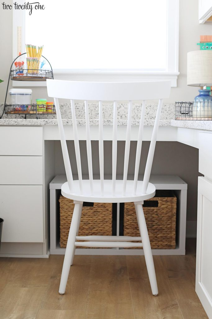 white chair in homework area
