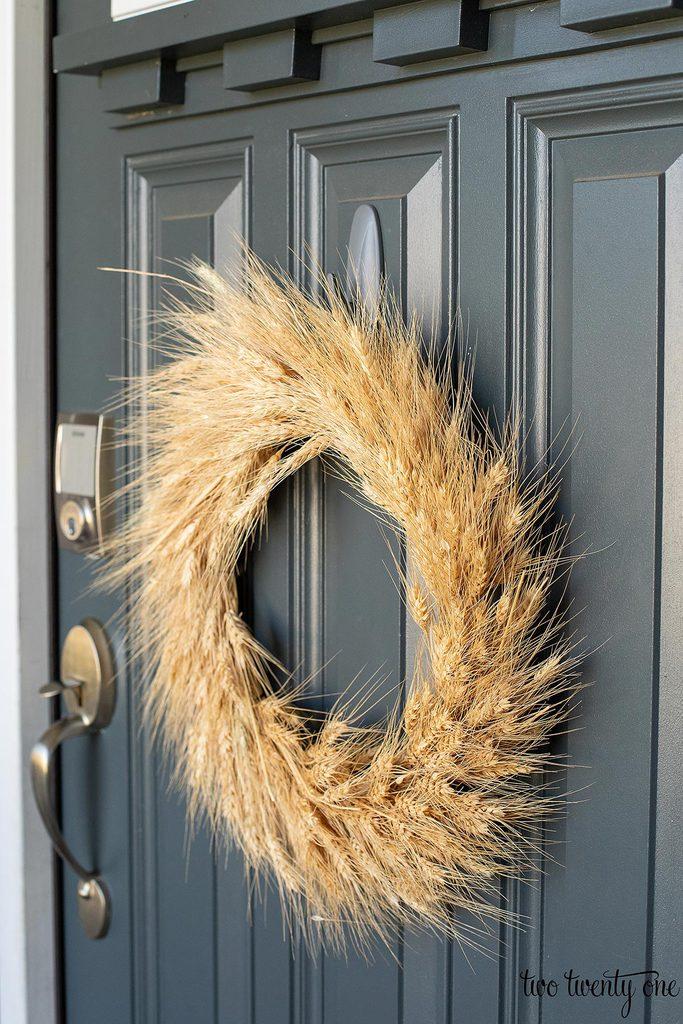 dried wreath on front door