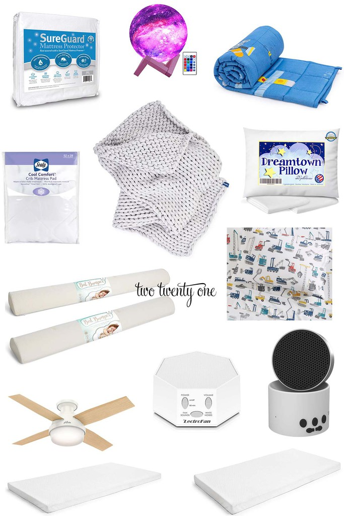 collage of favorite sleep products for kids