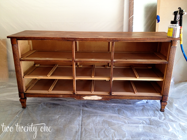 How to turn a dresser into a tv stand diy two twenty one for Stand 2 b