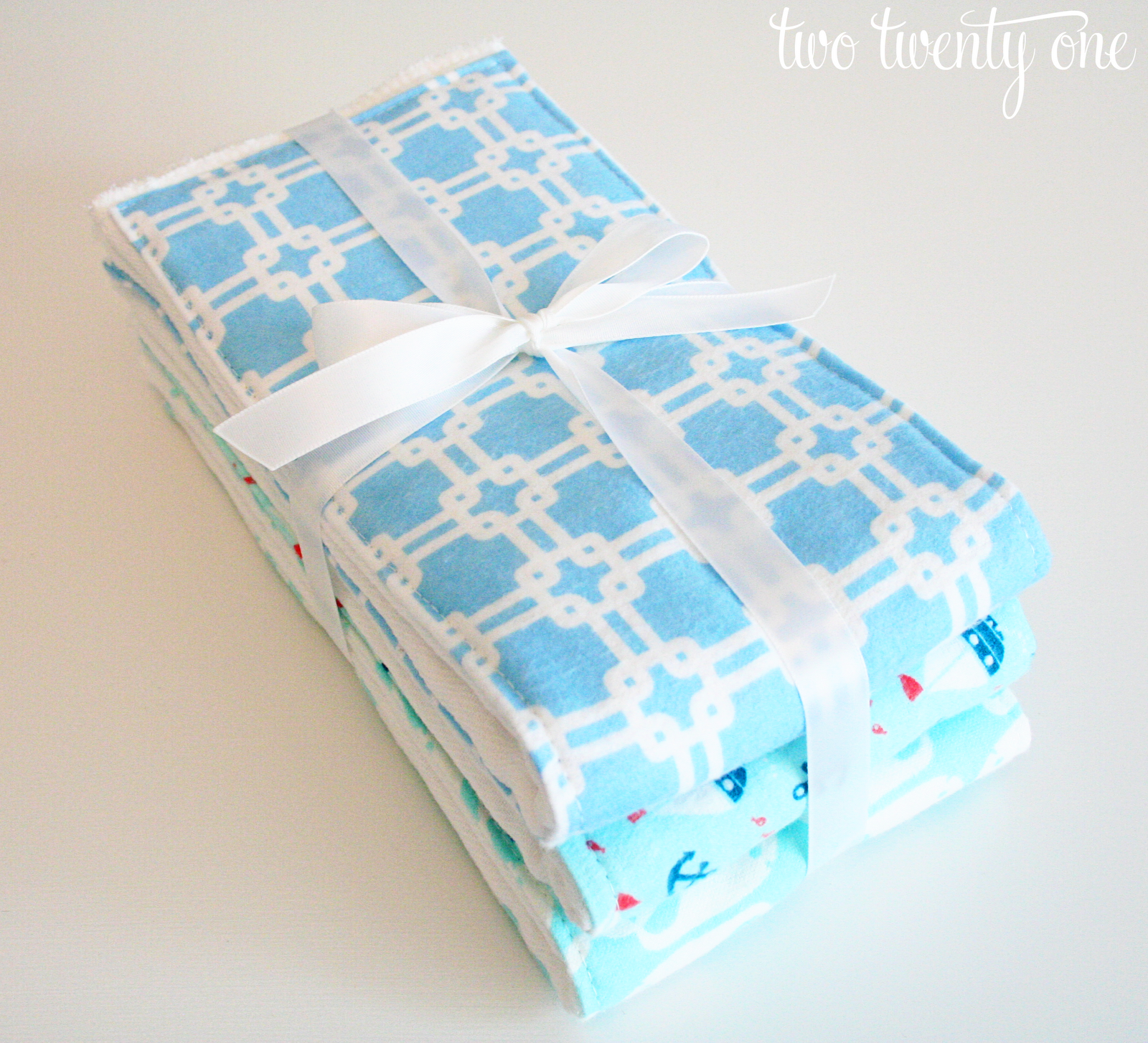 we did something very similar to this tutorial for the burp cloths we cut the material purchased at joann fabric to fit the middle part of a cloth diaper
