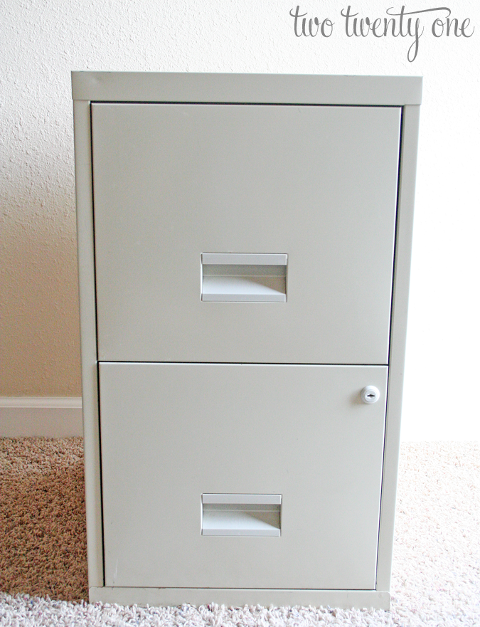 stenciled file cabinet - two twenty one white metal filing cabinet