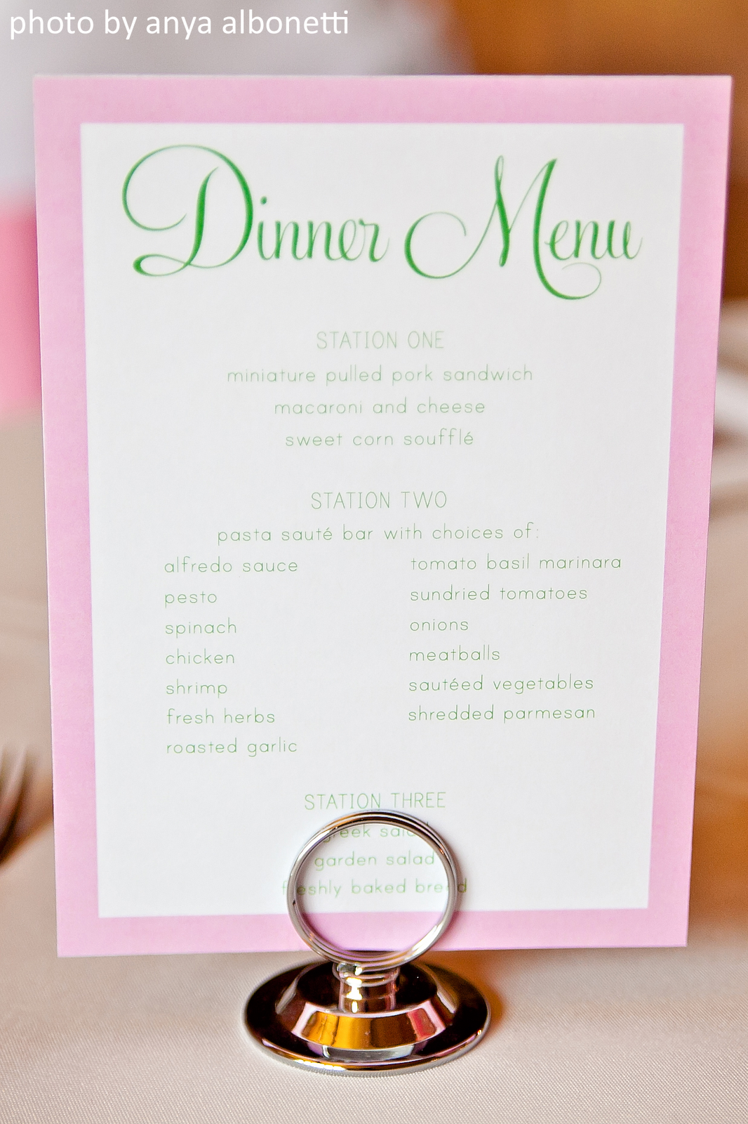 Our wedding reception for Table 6 brunch menu