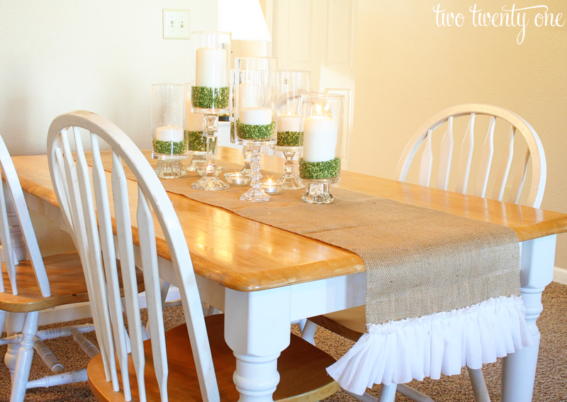 Ruffled burlap table runner how to cut burlap diy Dining room table runner ideas