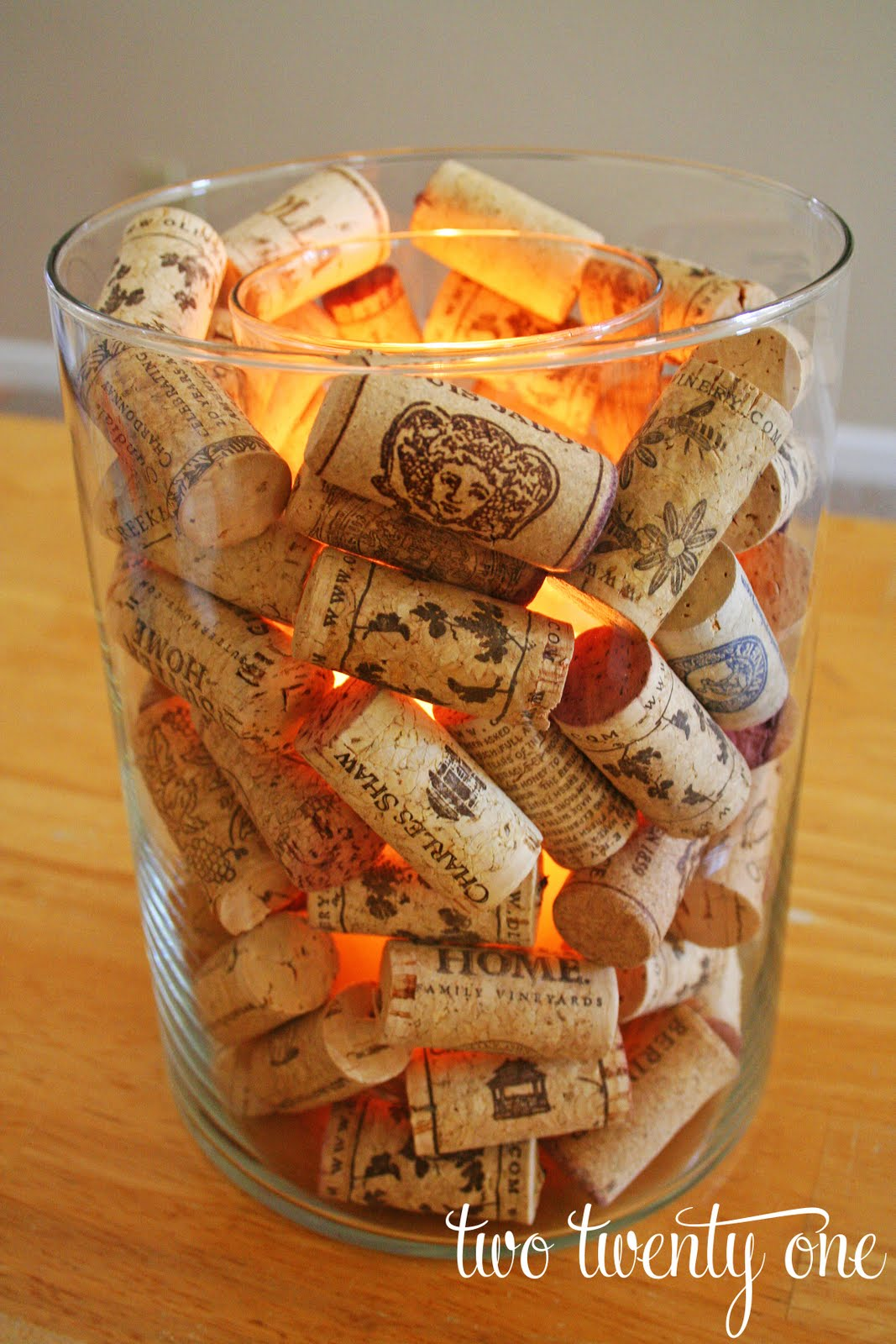 Wine cork candle holder two twenty one for Wine cork crafts for weddings